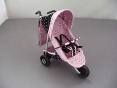 1/12th scale 3 wheel modern black and Hello Kitty, buggy/ stroller/ baby carriage/ pushchair, hand crafted miniature