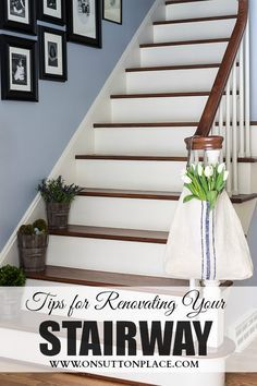 I want this staircase! A refinished staircase project that begins with removing old carpet from the stairs and ends with a totally transformed space. Refinish Staircase, Wood Staircase, Staircase Design, Entryway Stairs, Staircase Ideas, Basement Stairs, White Staircase, Basement Carpet, Carpet Stairs