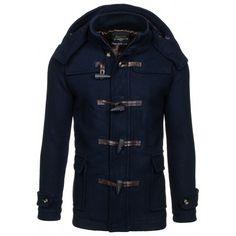 Pánský podzimní tmavě modrý kabát - manozo.cz Motorcycle Jacket, Leather Jacket, Nike, Jackets, Fashion, Studded Leather Jacket, Down Jackets, Moda, Leather Jackets