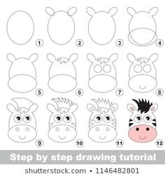 Kid game to develop drawing skill with easy gaming level for preschool kids, drawing educational tutorial for Zebra Horse Face Easy Drawings For Kids, Drawing For Kids, Art For Kids, Drawing Tutorials For Kids, Drawing Skills, Drawing Lessons, Doodle Drawings, Doodle Art, Zebra Drawing