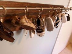 Click Pic for 32 DIY Shoe Organizer Ideas - Curtain Rail for Babys Boots - DIY Shoe Storage Ideas