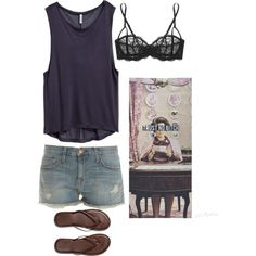 A fashion look from January 2015 featuring H&M tops, Current/Elliott shorts and Elle Macpherson Intimates bras. Browse and shop related looks.