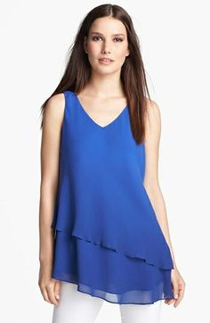 Eileen Fisher Double Layer Silk Tank $218.0 by nordstrom