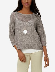 Layered Open Stitch Sweater from THELIMITED.com