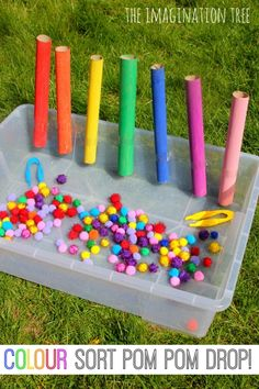 Colour sorting pom pom drop game for preschoolers!