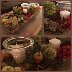 Herbstdekoration Herbst Dekoration Kerzen Efeu Hortensie Hagebutte Kastanie Rinde Glas Äpfel