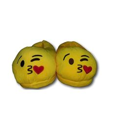 Throwing Kiss Unisex Emoji Plush Stuffed Home Indoor Pair Slippers Super Soft Comfy Shoes