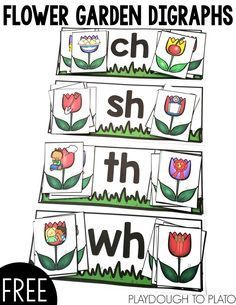 Flower Garden Digraphs - Playdough To Plato - Flower Garden Digraphs – Playdough To Plato FREE Flower Garden Digraphs ! A great way to help kids work on digraphs this spring! Perfect for literacy centers with kindergarten kids! Kindergarten Classroom Games, Kindergarten Centers, Kindergarten Reading, Teaching Reading, Guided Reading, Preschool, Kindergarten Freebies, Playdough To Plato, Blends And Digraphs