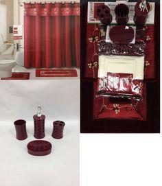 Maroon Bathroom Set Accessories Furniture Room Design