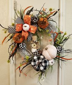 Fall Wreaths For Front Door Autumn Curb Appeal Awesome Fall Wreath Owl Wreath Fall Owl Wreath Halloween Wreath Front - prekhome Owl Wreaths, Autumn Wreaths, Holiday Wreaths, Wreaths For Front Door, Wreath Fall, Holiday Decor, Fall Owl, Turkey Wreath, Fall Swags