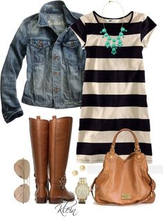 stripped dress with boots and jacket