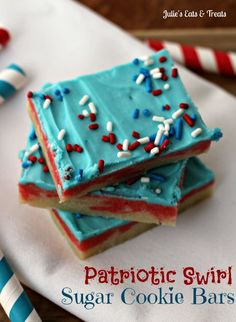 Patriotic Swirl Sugar Cookie Bars--If you are looking for a super easy, but festive treat that will wow everyone at your 4th of July party then here's your treat! These bars are soft and amazing but way less work than sugar cookies, but they are just as impressive!