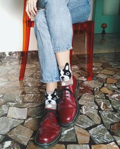 Docs and Socks: The 1461 shoe in Cherry Red. Photo by cami_guidotti.