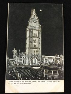 Early 1900s Dreamland Tower, Coney Island, NY hand-gilded with glitter postcard