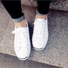 4fac50f529d9 LIKE NEW Converse All White Leather Jack Purcells Anchor your weekend  outfits with Converse s iconic