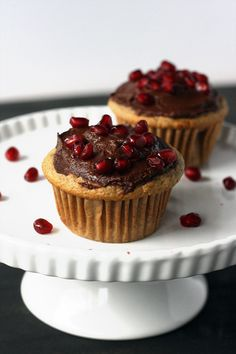 Fluffy vanilla cupcakes with a rich chocolate frosting and a sprinkle of pomegranate arils for two! They're quick, easy, vegan, AND healthy.