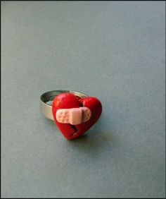 Polymer Clay Ring/ who does not need a bandaid for their heart now and then?