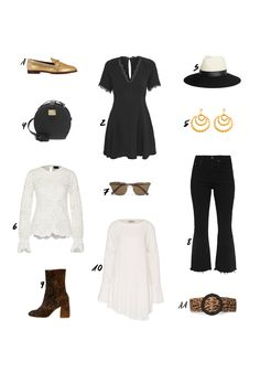 OUTFIT: Get The Look: Seventies Inspired Style Idea with Black Urban Outfitters Lace Dress, Lanvin Straw Fedora Hat, Golden Loafer and Saint Laurent Leopard Hat. More on thedashingrider.com