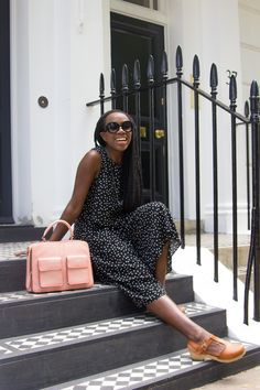 A spotty co-ord by Forever 21 with an Orla Kiely bag