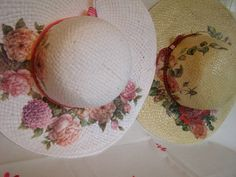 rafia summer hats, decoupage