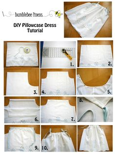 DIY dress from pillow case! : DIY dress from pillow case! Sewing Hacks, Sewing Tutorials, Sewing Crafts, Sewing Projects, Sewing Patterns, Dress Patterns, Clothes Patterns, Sewing For Kids, Baby Sewing