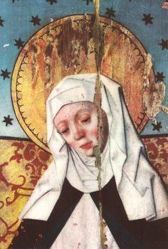Saint Brigitta of Sweden DETALLE DE LEVANTAMIENTO DE PINTURA,CON PERDIDAS, EN TORNO A LA UNIÓN DE PANELES, DECOLORACION....