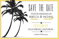 Palm Trees Save the Date or Invitation by SinglewideDesigns, $1.90