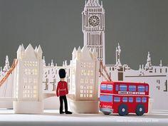 Paper models of London Landmark buildings.
