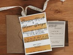 Yellow & Gold, Black Wedding Invitation on heavy matte cardstock with kraft rsvp cards by Rusticpapers on Etsy