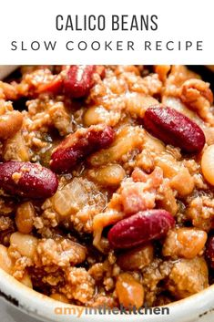 Best Crockpot Recipes, Potluck Recipes, Slow Cooker Recipes, Easy Dinner Recipes, Holiday Recipes, Bacon And Beans Recipe, Calico Beans Recipe, Cooking For A Crowd, Food For A Crowd