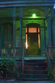 Iron porch rail,post and steps of Armstrong-Danna house, New Orleans ~ Built in 1868