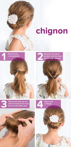 fast, easy, cute hairstyles for girls This chignon tutorial is so easy. Try this hairstyle idea for school.This chignon tutorial is so easy. Try this hairstyle idea for school. Flower Girl Hairstyles, Little Girl Hairstyles, Trendy Hairstyles, Wedding Hairstyles, Wedding Updo, Short Haircuts, Simple Hairstyles For Kids, Communion Hairstyles, Sassy Haircuts