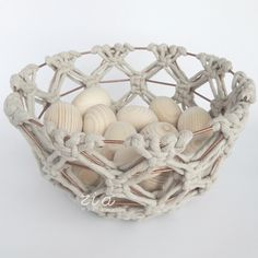 "Our macrame basket from ""zia Easter"" limited collection is an absolutely individual decoration, made from recicled cotton cord knotted on a rose gold metallic frame.🙏🙂 (check the link in the bio) . Handmade Home, Handmade Bags, Handmade Decorations, Decorative Bowls, Macrame, Metallic, Limited Collection, Easter, Unique Jewelry"