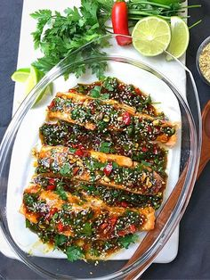 UGNSBAKAD LAX MED ASIATISKA SMAKER | zofias_kok Clean Recipes, Easy Dinner Recipes, Cooking Recipes, Salmon Recipes, Fish Recipes, Healthy Snacks, Healthy Eating, Vegetarian Recipes, Healthy Recipes
