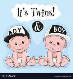 It is twins. Two cute cartoon twins boys on a blue background stock illustration