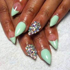 mint green almond nails