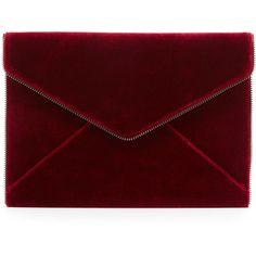 Rebecca Minkoff Leo Velvet Envelope Clutch Bag found on Polyvore featuring bags, handbags, clutches, soft berry, zipper flap purse, rebecca minkoff, flap purse, flap handbags and envelope clutch