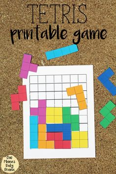 Tetris printable game with board and pieces for kids / This fun and cute pattern game is a great alternative to screen time!This Tetris printable game will bring back nostalgia for your favorite childhood video game. Print, cut, and try to fit as man Kindergarten Math, Teaching Math, Learning Activities, Preschool Activities, Summer Activities, Visual Motor Activities, Rainy Day Activities For Kids, Cognitive Activities, Math Games For Kids