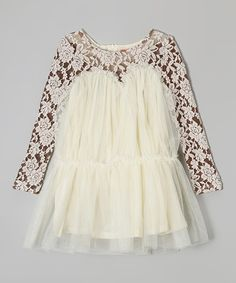 Loving this Funkyberry Ivory & Brown Lace Dress - Toddler & Girls on #zulily! #zulilyfinds