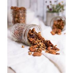 NEW! My favorite granola made with coconut oil, almonds, pecans, oats, honey, chia and flax. Perfectly crunchy & full of sweet spices like cinnamon and nutmeg. ❤️ try it with almond milk or Greek yogurt for a nutritious breakfast. Direct link in bio! #ambitiouskitchen #granola #glutenfree #vegan