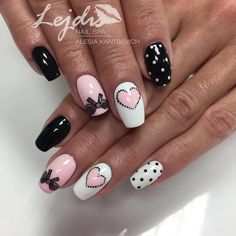 Top 60 nail designs with bows 2018 - Top 60 nail designs with bows 2018 - Gelish Nails, Shellac, Manicure And Pedicure, Pink Nails, Cute Nails, Pretty Nails, New Nail Colors, Valentine Nail Art, Diy Nail Designs