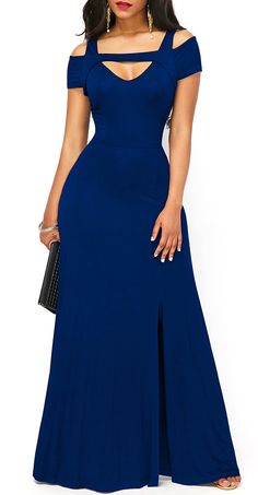 Front Slit Zipper Back Maxi Dress, navy blue dress, classy, modest, cute, free shipping worldwide at rosewe.com, check it out.