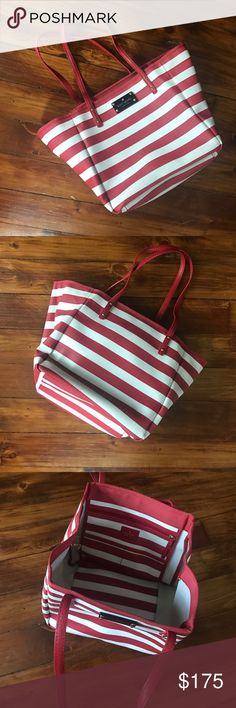 Striped kate spade tote EUC. Red and white striped tote. Pristine condition on exterior, one small pen mark on interior. Only carried to one event. 9 in tall, 9 wide, 9 in, deep. LOVE this bag kate spade Bags Totes