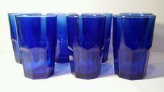 7 Libbey Gibraltar Crisa Cobalt Blue Glass Tumblers 16 Oz  #Libbey