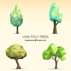 Low Poly Trees Collection Free Vector