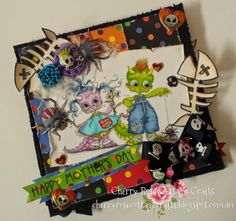 """Mo Manning - Monster g (left) merged with Monster b (right) for """"Mothers Day Monster Easel Card"""""""