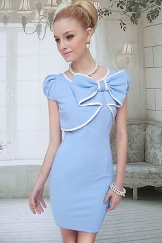 Light Blue Bowknot Dress- I can see this dress at the Kentucky Derby!