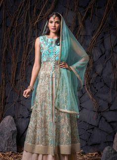 Turquoise  & Beige designer Indian anarkali suit in net I15331