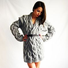 choarcoal oversized cable-knit cardigan belted and worn like a tunic dress