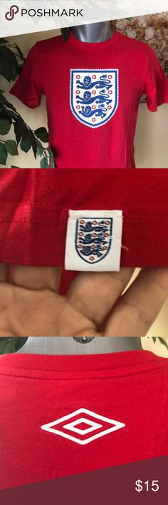 "Men's England Tee ENGLAND FUTBOL FANS!  Men's red tee.  Worn 1x to a game with the jacket in pictures.  Sleeve ""patch stamp"", sewn Umbro logo centered on back shoulder. Jacket sold separately or consider a bundle.  Smoke free home. Umbro Shirts Tees - Short Sleeve"